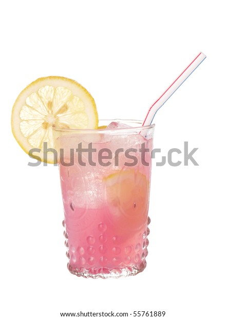 Pink lemonade in an antique style glass isolated