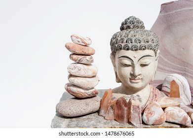 Pink Lemurian Crystals with Buddha and balancing Red Sandstone from the US Southwestern desert. Climb the ladder toward your highest spiritual potential with the wisdom of Seed Crystals.