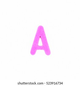 pink letter A made of foam toy isolated on white background.Letters of English