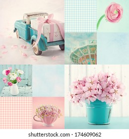 Pink and light blue tone collage of flowers and vintage decorative items and backgrounds