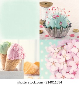 Pink and light blue tone collage of flowers and vintage decorative items and backgrounds with copy space and textured scratchy editing