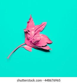 Pink Lily painted. Minimalism fashion art