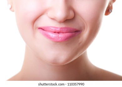 pink  lips, close-up portrait