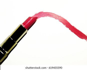 Pink Lipstic Draw Line Isolated On White Blank Background Top View From Above