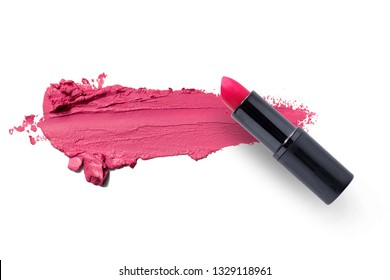 Pink lipstick smudged texture isolated on white with copy space