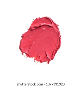 Pink lipstick texture stain isolated white background. Abstract art oil pink paint spot background.