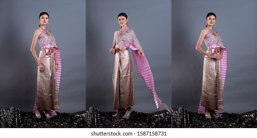 Pink Lotus Dress of Thai Traditional Costume or South East Asia gold Dress in Asian Woman with decoration stand portrait in many poses under Studio lighting grey background, collage group pack