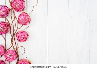 Pink Lotus on Vintage Background, Flat Lay Style