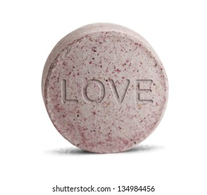 Pink Love Potion medicine isolated on a white background.