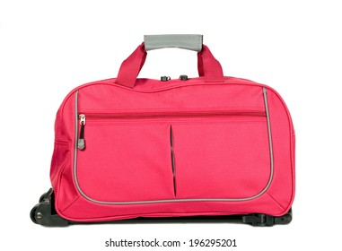 Pink luggage with wheels for travel purposes