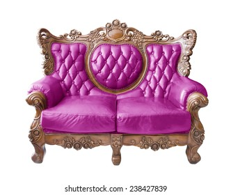 Pink Luxurious sofa on white background. clipping path.
