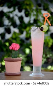 Pink Lychee fruit juice and cactus with green background.