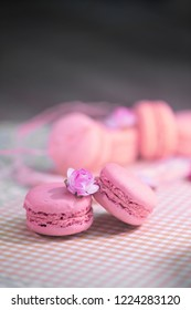 pink macarons. French  dessert
