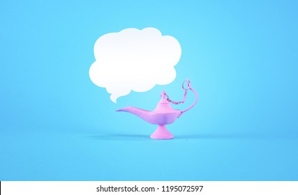 Pink magic lamp with empty white cloud on pastel blue background. Minimal summer concept.