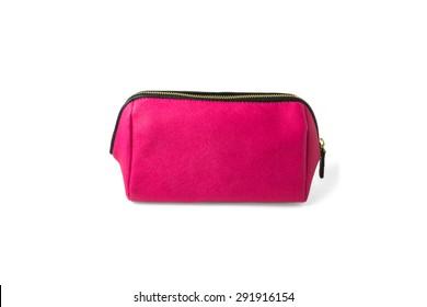 pink make-up bag, isolated on white background, beauty, cosmetics, women, fashion