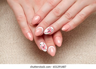 Pink manicure. Long pointed nails. Manicure on sharp long nails with a list. Drawing poppies. Beautiful hands. Painted poppy. Flowers on ring fingers.