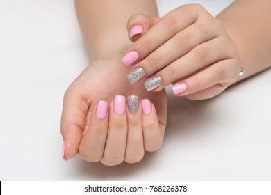 pink manicure with silver sequins on square nails