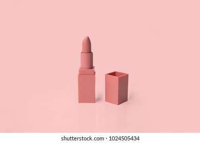 Pink matte lipstick isolated on pastel background