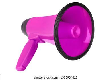 Pink megaphone on white background isolated closeup, hand loudspeaker design, purple loudhailer or speaking trumpet illustration, announcement or alarm symbol, media or communication icon, alert sign