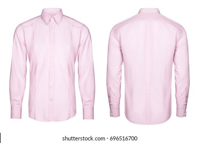 pink mens classic shirt isolated white background