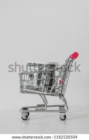 Pink Metal Shopping Cart On White Stock Photo (Edit Now) 1182520504