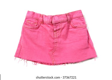 pink mini jeans skirt isolated on white