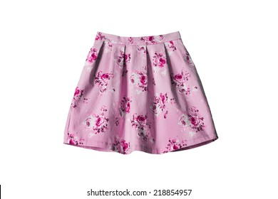 Pink mini skirt with floral ornament on white background