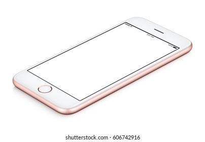 Pink mobile phone mock-up clockwise rotated lies on the surface with blank screen isolated on white background, usable for your web project or design presentation.