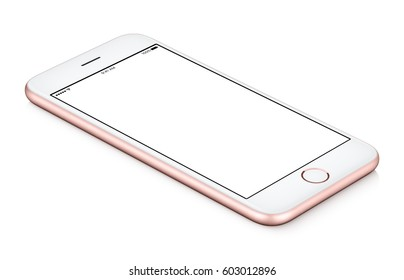 Pink mobile smartphone mock-up CCW rotated lies on the surface with blank screen isolated on white background. You can use this smartphone mock-up for your web project or design presentation
