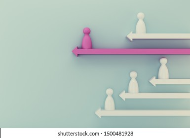 Pink model people outstanding with arrow on blue background. Human resource, Talent management, Recruitment employee, Successful business team leader concept.