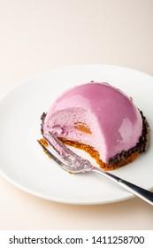 Pink modern dessert on plate