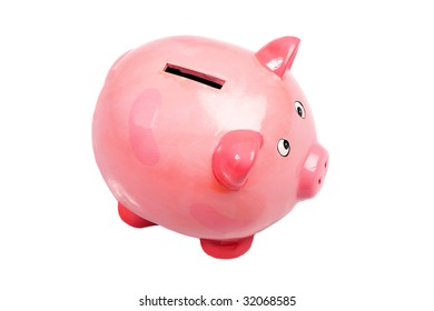 Pink money box a over white background