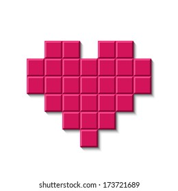 Pink mosaic heart isolated.