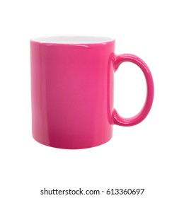 Pink mug on isolated background with clipping path. Ceramic coffee cup for montage or design.