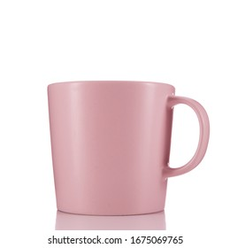 Pink mug on seamless white background