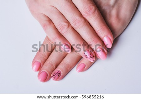 Pink Nail Art Flowers On White Stock Photo Edit Now 596855216