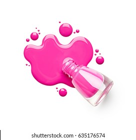 Pink nail polish isolated on white background