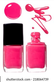 Pink nail polish set. Photo.