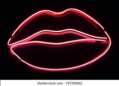 Pink neon lips