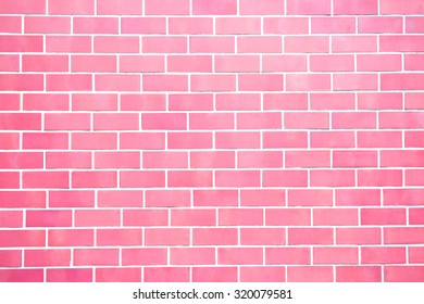Pink new brick wall pattern background for architecture design, front or top view.