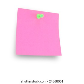 pink note pad reminder on wall with clipping path