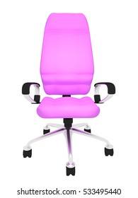 pink office chair on a white background 3d rendering