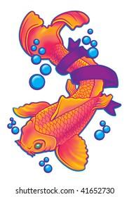 Pink and Orange Koi Fish