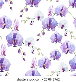 pink orchid, pattern, watercolor