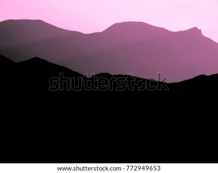 pink outline black mountains magnificent natural stock photo edit