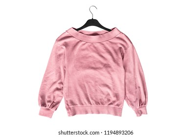 Pink oversized sweatshirt on black clothes rack isolated over white