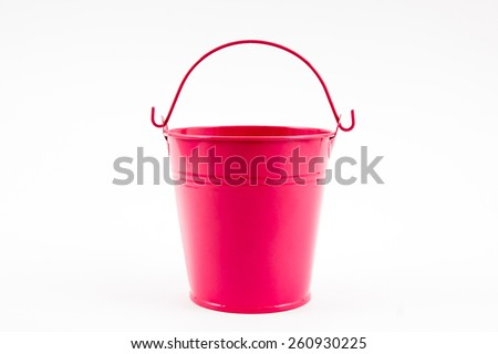 Pink pail of small pots on white background