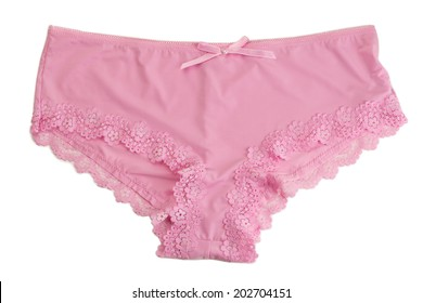 Pink panties with high waist. Isolate on white.