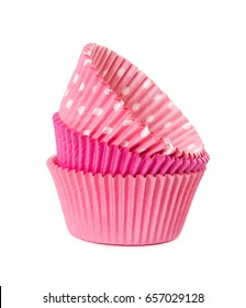 Pink paper cups for cupcake isolated on white background.