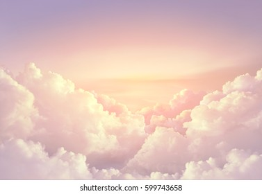 pink paradise sky background with large clouds can use as for advertising background compose with product